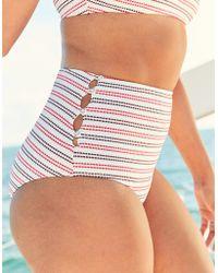 0bc3056eef6d3 American Eagle Pique Longline Triangle Bikini Top in Blue - Save 29% - Lyst