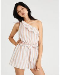 f3d148a09ab6 Lyst - American Eagle Tie-sleeve Off-the-shoulder Romper in Blue