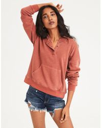 American Eagle - Ae Henley Pullover Hoodie - Lyst