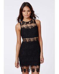 Missguided Kelsey Crochet Insert Midi Dress Black - Lyst