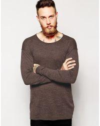 Asos Brown Longline Sweater - Lyst