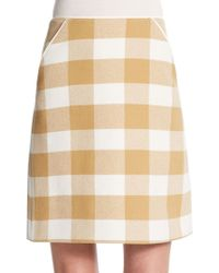 Courreges Checkered Wool A-Line Skirt - Lyst