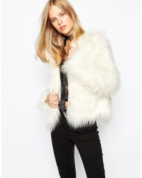 First & I - Faux Fur Collarless Jacket - Lyst