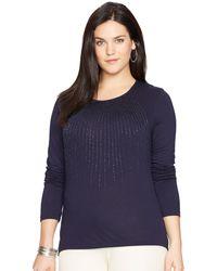 Lauren by Ralph Lauren Plus Size Long-Sleeve Beaded Top - Lyst