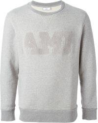 Ami Textured Logo Sweatshirt - Lyst