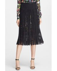 McQ by Alexander McQueen Shirred Silk Midi Skirt black - Lyst