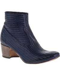 Silvano Sassetti Woven Ankle Boot Blue Leather - Lyst