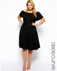 Asos Curve Exclusive Midi Skirt With Highwaist And Belt - Lyst