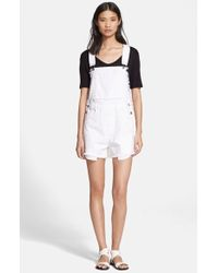 Each x Other | Frayed Denim Short Overalls | Lyst