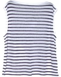 T By Alexander Wang Navy and White Stripe Linen Boatneck Tee - Lyst