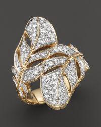 John Hardy Women'S 18K Gold Classic Chain Feather Diamond Pavé Overlap Ring - Lyst