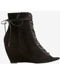 Narciso Rodriguez - Lace-up Peep Toe Suede Bootie - Lyst