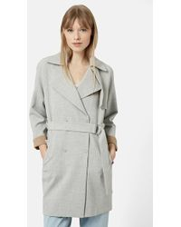 Topshop Double Breasted Trench Coat - Lyst