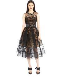 Oscar de la Renta Leaf Embroidered Cage Cocktail Dress - Lyst