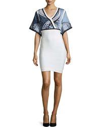Hervé Léger Tidal Wave Jacquard-Top Bandage Dress white - Lyst
