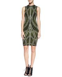 Torn By Ronny Kobo Claudia Geometricprint Sheath Dress Green Small - Lyst