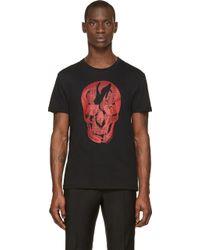Alexander McQueen Black and Red Glanplaid Skull T_shirt - Lyst