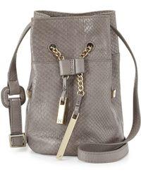 Halston Heritage | Snake-embossed Leather Mini Bucket Bag | Lyst