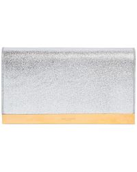 Saint Laurent Lutetia Metallic Leather Clutch - Lyst