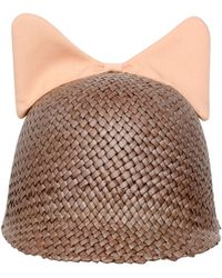 Federica Moretti - Minu Cotton Cat Ears On Woven Straw Hat - Lyst