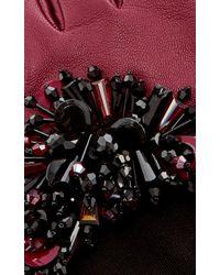 Oscar de la Renta - Bordeaux Paillette-embroidered Gloves - Lyst