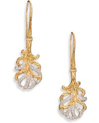 John Hardy | Classic Chain Diamond & 18k Yellow Gold Feather Drop Earrings | Lyst