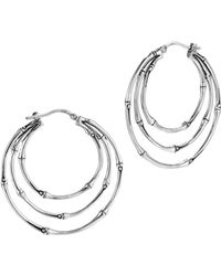 John Hardy Bamboo Silver Small Side Facing Orbital Hoop Earrings - Lyst