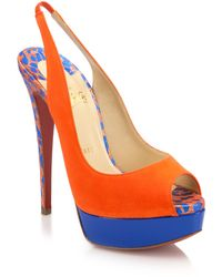 Christian Louboutin Colorblock Suede Peep-Toe Slingback Pumps - Lyst