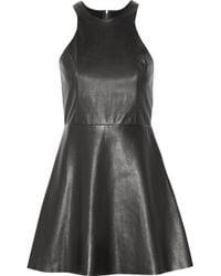 Mason by Michelle Mason Leather and Stretch-jersey Mini Dress - Lyst