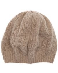 Portolano | Nile Brown Cable Knit Cashmere Beanie | Lyst