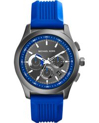 Michael Kors Mens Chronograph Outrigger Blue Silicone Strap Watch 43mm - Lyst