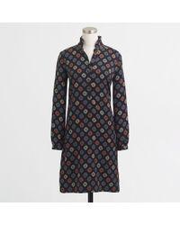 J.Crew Factory Printed Ruffle-neck Dress - Lyst