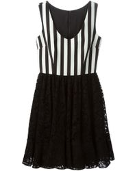 Dolce & Gabbana Striped Floral Lace Dress - Lyst