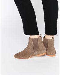 Faith - Smith Taupe Suede Leather Ankle Boots - Lyst
