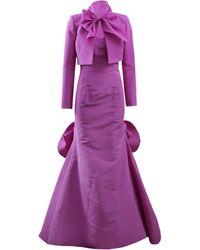 Oscar de la Renta Strapless Gathered Back Gown purple - Lyst