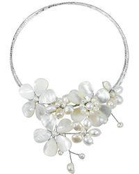 Aeravida - Multi Flower Cultured Freshwater White Pearl Cluster Choker Wrap Handmade Necklace - Lyst
