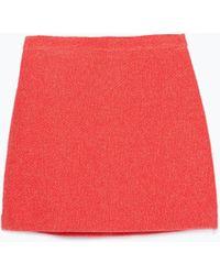 Zara Flared Mini Skirt pink - Lyst