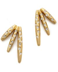 Rachel Zoe - Quills Button Earrings Goldcrystal - Lyst