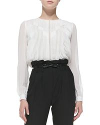 Milly Pintucked Chiffon Blouse White 10 - Lyst