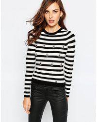 Lipsy - Stripe Jumper With Embellishment - Lyst