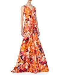 J. Mendel Sleeveless Floral Print Silk Gown - Lyst