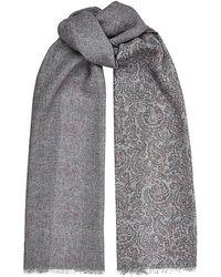 Harrods - Paisley and Herringbone Wool Scarf - Lyst