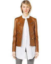 Michael Kors Leather Moto Zipfront Jacket - Lyst
