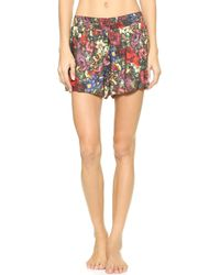 Alice + Olivia Alice  Olivia Smocked Floral Shorts - English Floral All Over - Lyst
