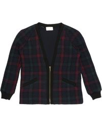 Nicole Miller Oversized Quilted Plaid Cardigan - Lyst