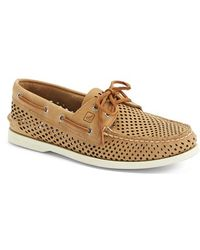 Sperry Top-Sider 'Authentic Original' Perforated Leather Boat Shoe brown - Lyst