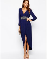 Tfnc Wrap Maxi Dress with Embellished Waist - Lyst
