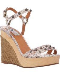 Lanvin Snake-Stamped Platform-Wedge Sandals - Lyst
