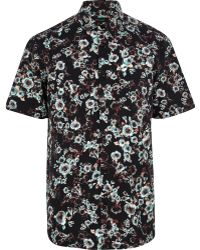 River Island Black Blurred Floral Print Short Sleeve Shirt - Lyst