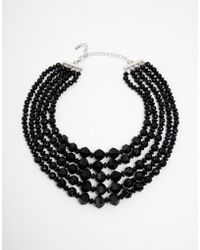 Asos Multi Row Faceted Bead Choker Necklace - Lyst